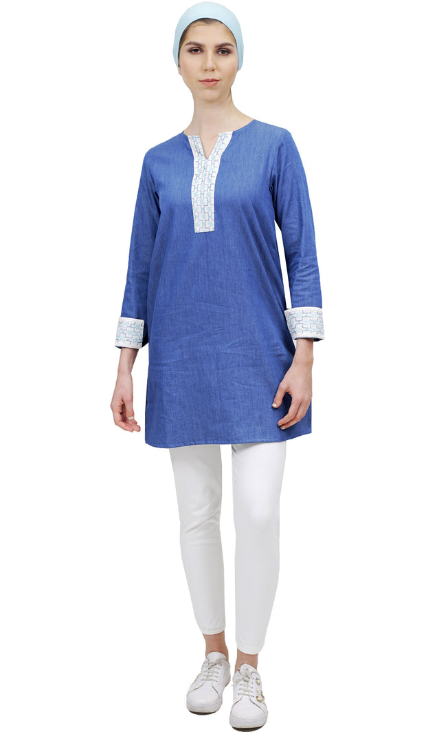 Tanvir Long Embroidered Modest Denim Tunic - Blue
