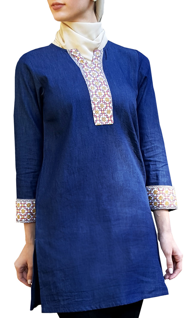Tanvir Long Embroidered Modest Denim Tunic - Indigo