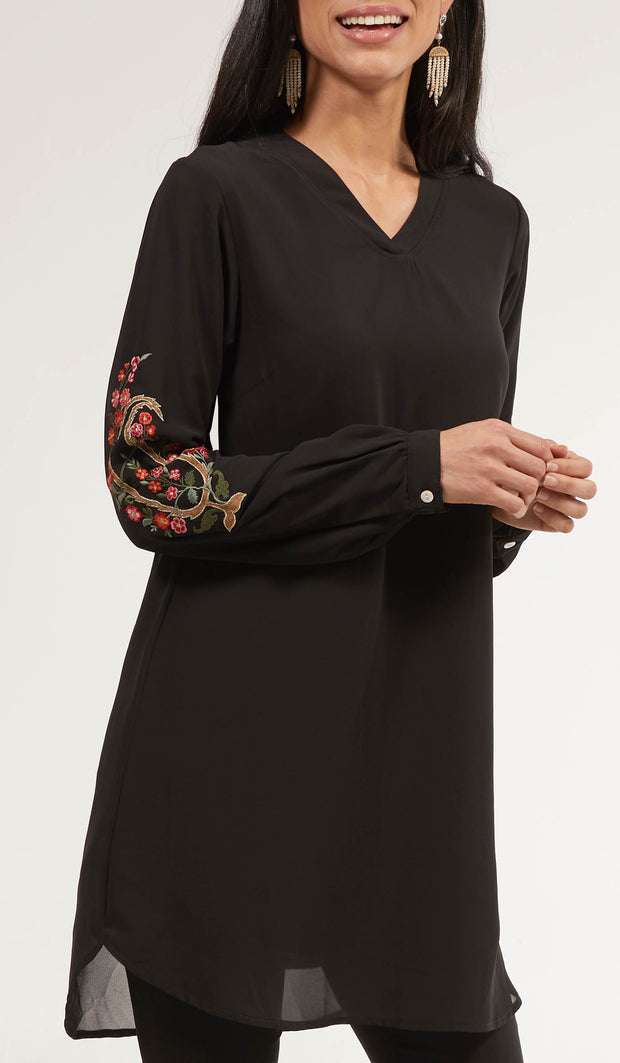Tara Embroidered Long Modest Tunic - Black