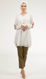 Tara Embroidered Long Modest Tunic - Off White