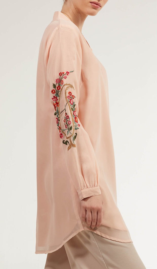Tara Embroidered Long Modest Tunic - Pale Peach