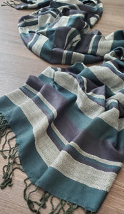 Teal Blue, Black and Cream Stripe Wrap Hijab