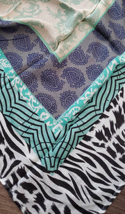 Teal, Black and White Square Patterned Hijab