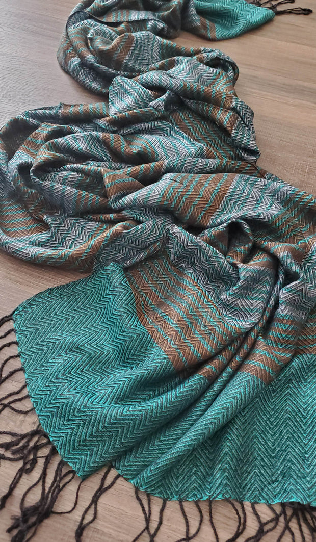 Teal, Bronze and Gray Herringbone Stripe Wrap