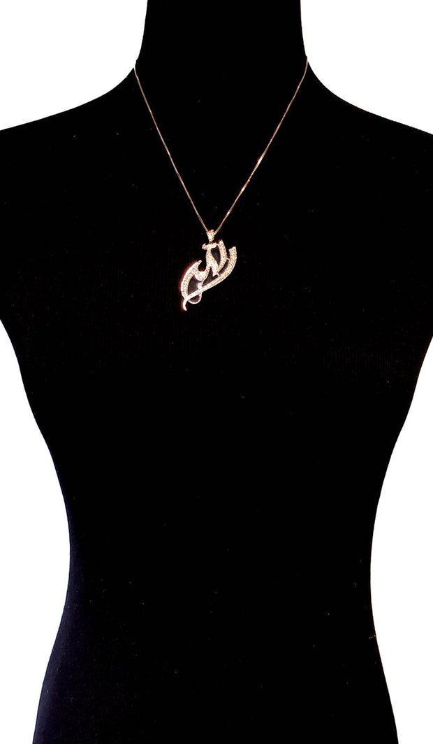 Goldplated Sterling Silver Pave Diamond-Look Allah Necklace