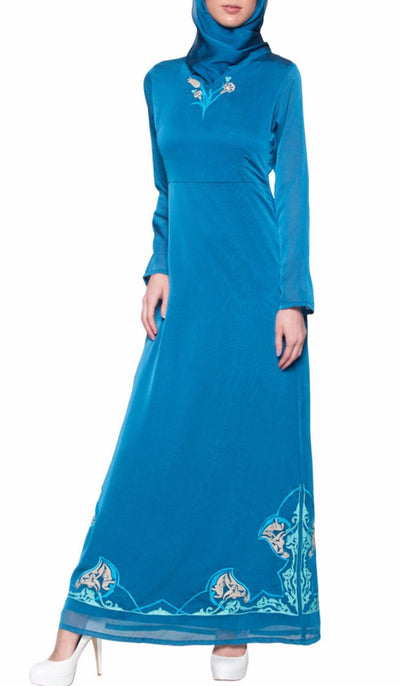 Tilla Embroidered Formal Muslim Evening Dress Abaya - Blue