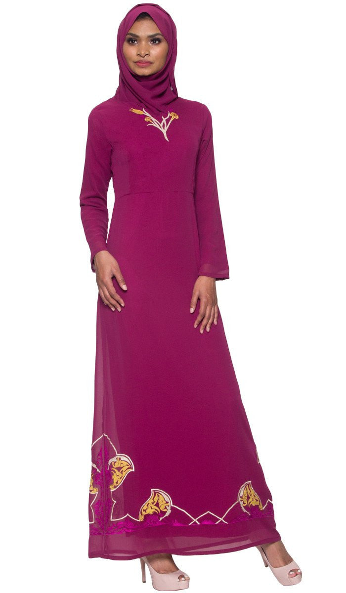 Tilla Embroidered Formal Muslim Evening Dress Abaya - Purple Orchid