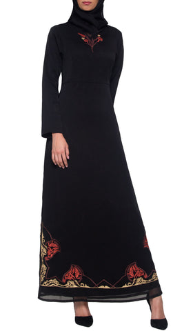 Tilla Embroidered Formal Muslim Evening Dress Abaya - Black