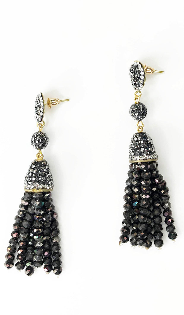 Topaz Brown Crystal Turkish Tassel Earrings