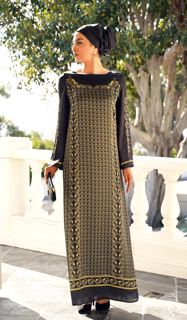 Treasure Formal Modest Maxi Dress Kaftan - Black