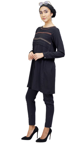 Uzma Embroidered Long Modest Tunic Dress - Black
