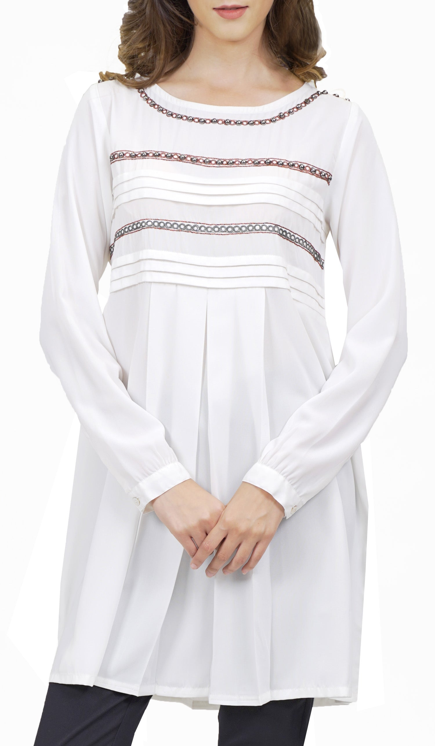 Uzma Embroidered Long Modest Tunic Dress - White