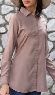 Vadi Classic Mostly Cotton Buttondown Shirt - Mocha