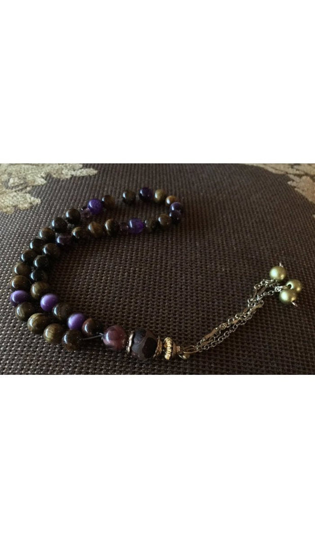 Handmade Violet and Brown Tiger Eye on Silver and Gold Tasbih, Tasbeeh, Misbaha, Sebha, Prayer Beads
