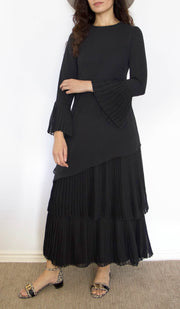 Wafa Pleated Chiffon Modest Maxi Dress Abaya - Black