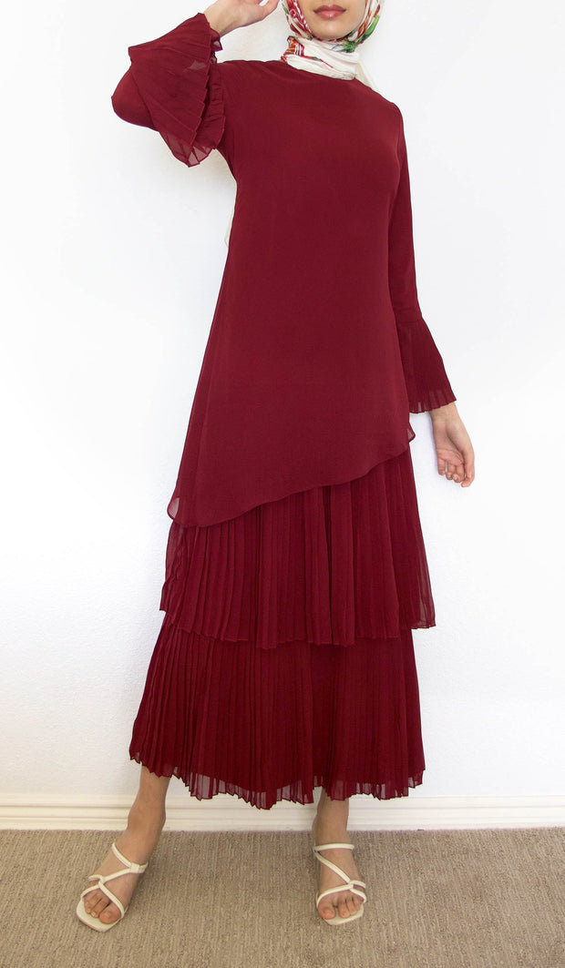 Wafa Pleated Chiffon Modest Maxi Dress Abaya - Maroon