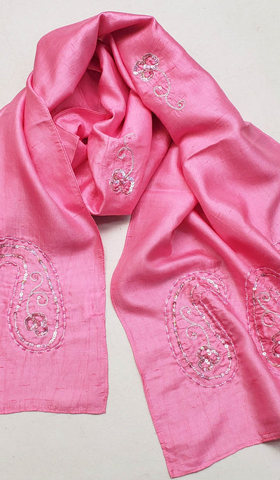 Warda Formal Embroidered Silk Wrap Hijab Scarf - Pink