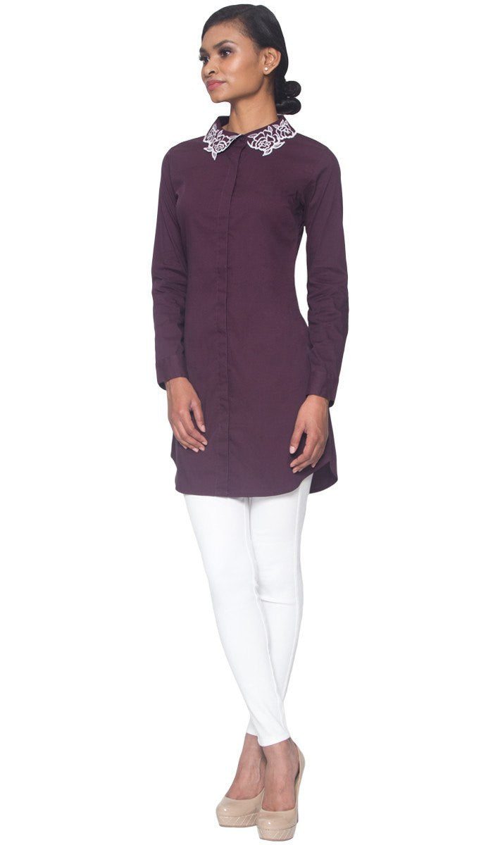 Wardah Long Embroidered Collar Dress Shirt - Deep Maroon