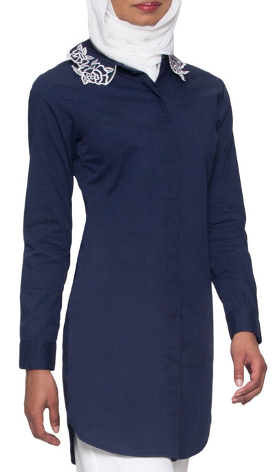 Wardah Long Embroidered Collar Dress Shirt - Navy Detail