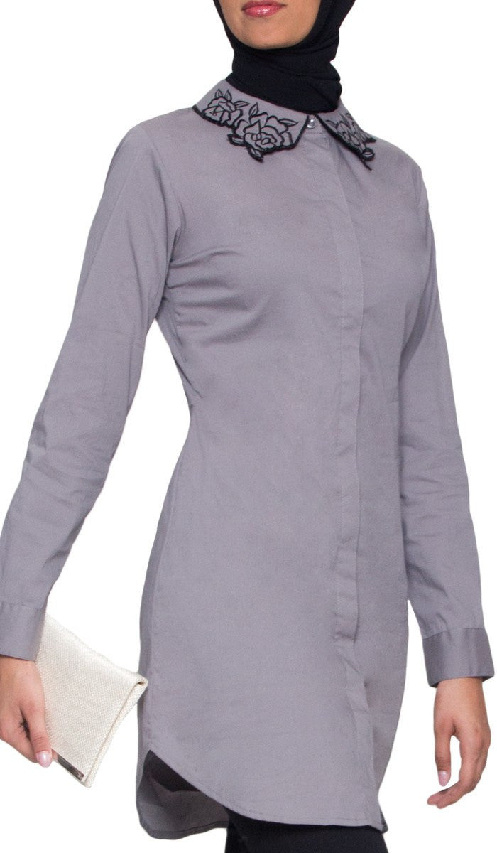 Wardah Long Embroidered Collar Dress Shirt - Oyster