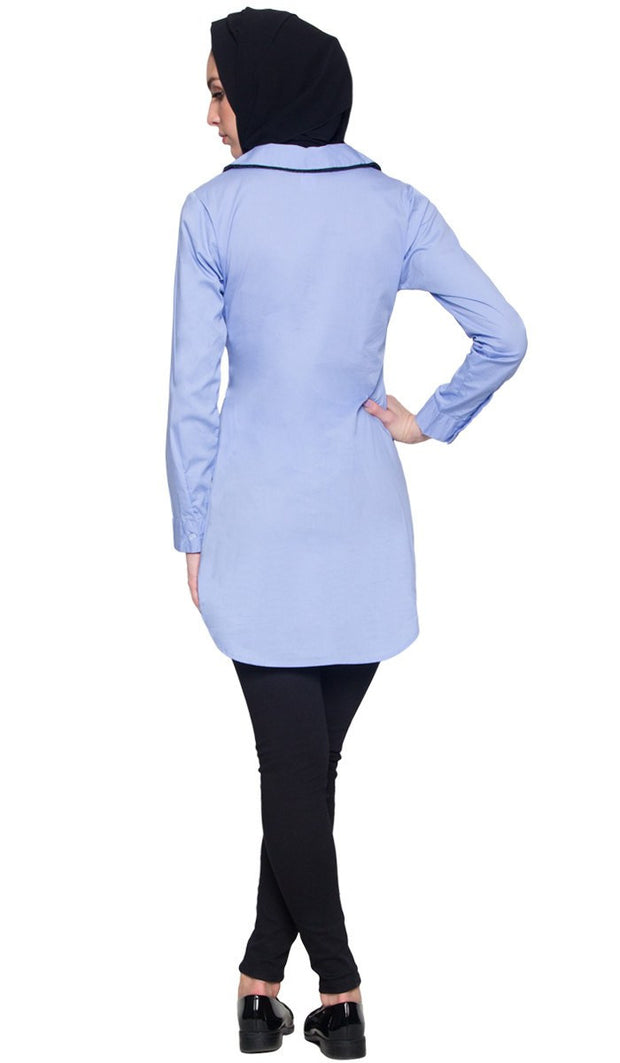 Wardah Long Embroidered Collar Dress Shirt - Powder Blue