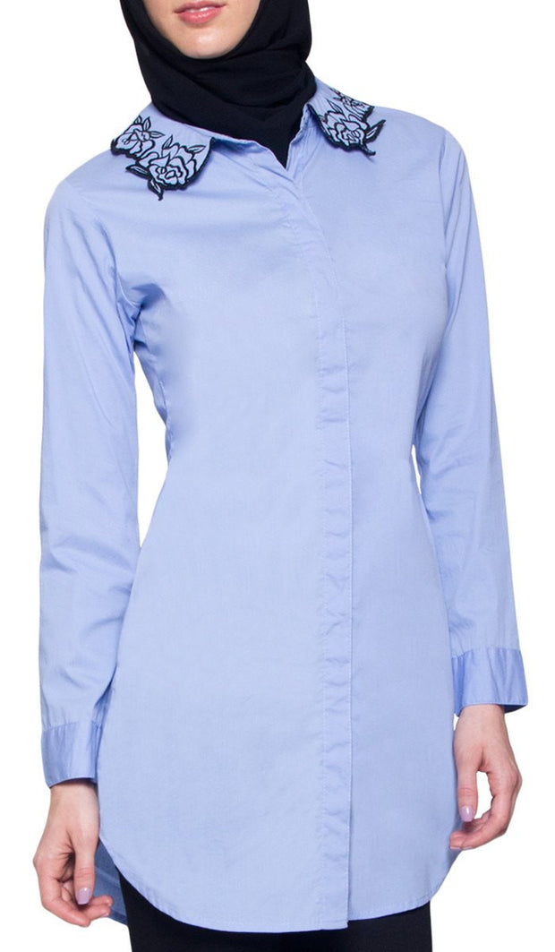 Wardah Long Embroidered Collar Dress Shirt - Powder Blue Detail