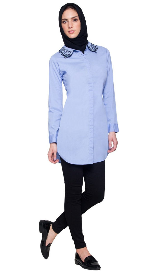 Wardah Long Embroidered Collar Dress Shirt - Powder Blue Outfit