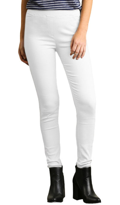 COMFORTABLE STRETCH MOSTLY COTTON JEGGINGS - WHITE