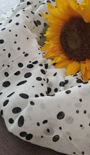 White and Black Polka Dot Square Hijab