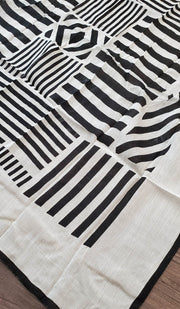 White and Black Printed Stripe Square Hijab