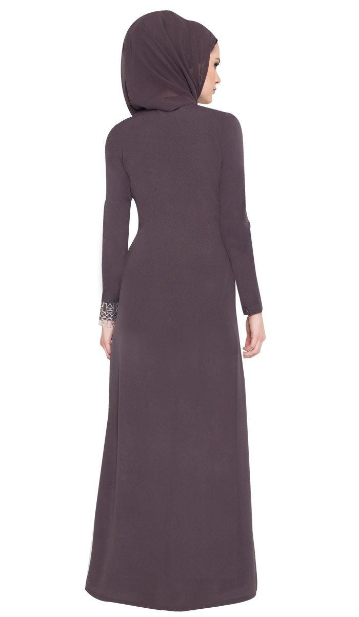 Wow Formal Hand Beaded Caftan Abaya with Wrap Scarf - Granite - ARTIZARA.COM