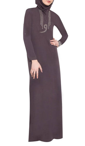 Wow Formal Hand Beaded Caftan Abaya with Wrap Scarf - Granite