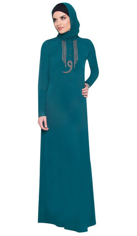 Wow Long Sleeve Modest Muslim Formal Abaya Dress - Teal Green - ARTIZARA.COM