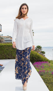 Yuna Flowy Printed Wide Leg Pants - Navy