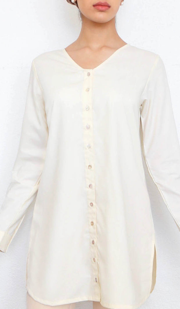 Yusra Modest Everyday Button Down Top - Cream