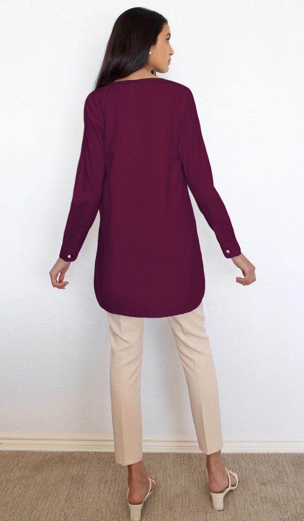 Yusra Modest Everyday Button Down Top - Maroon