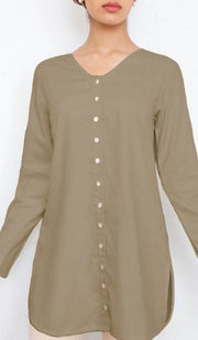 Yusra Modest Everyday Button Down Top - Mocha