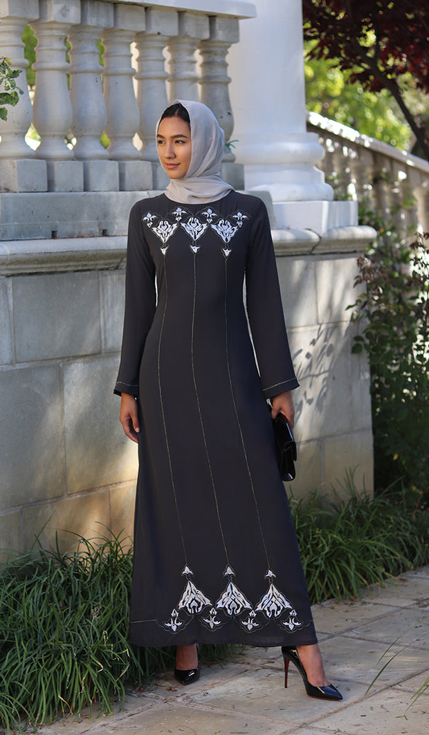 Zaira Embroidered Formal Muslim Evening Dress - Gray