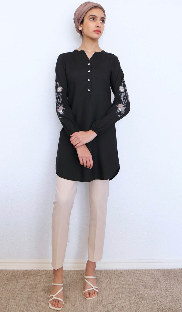 Zafira Embroidered Mostly Cotton Modest Tunic - Black