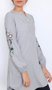 Zafira Embroidered Mostly Cotton Modest Tunic - Pewter