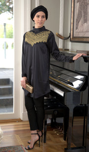 Zahab Embroidered Formal Long Modest Tunic - Black/ Gold