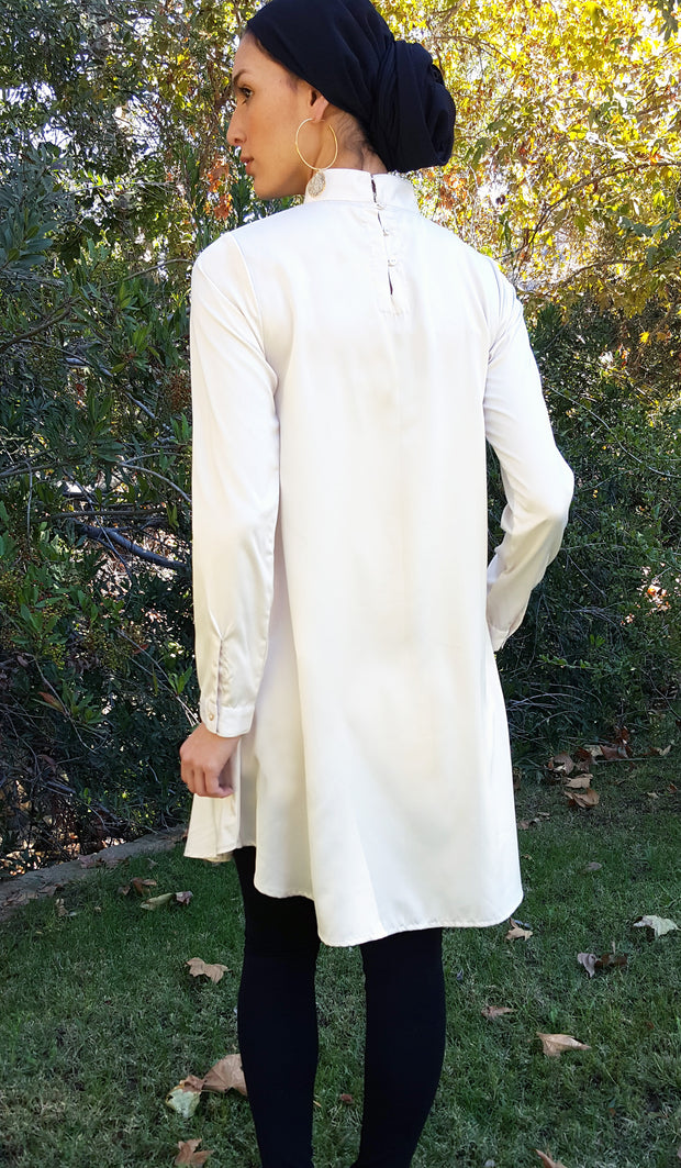 Zahab Embroidered Formal Long Modest Tunic - Ivory/ Black