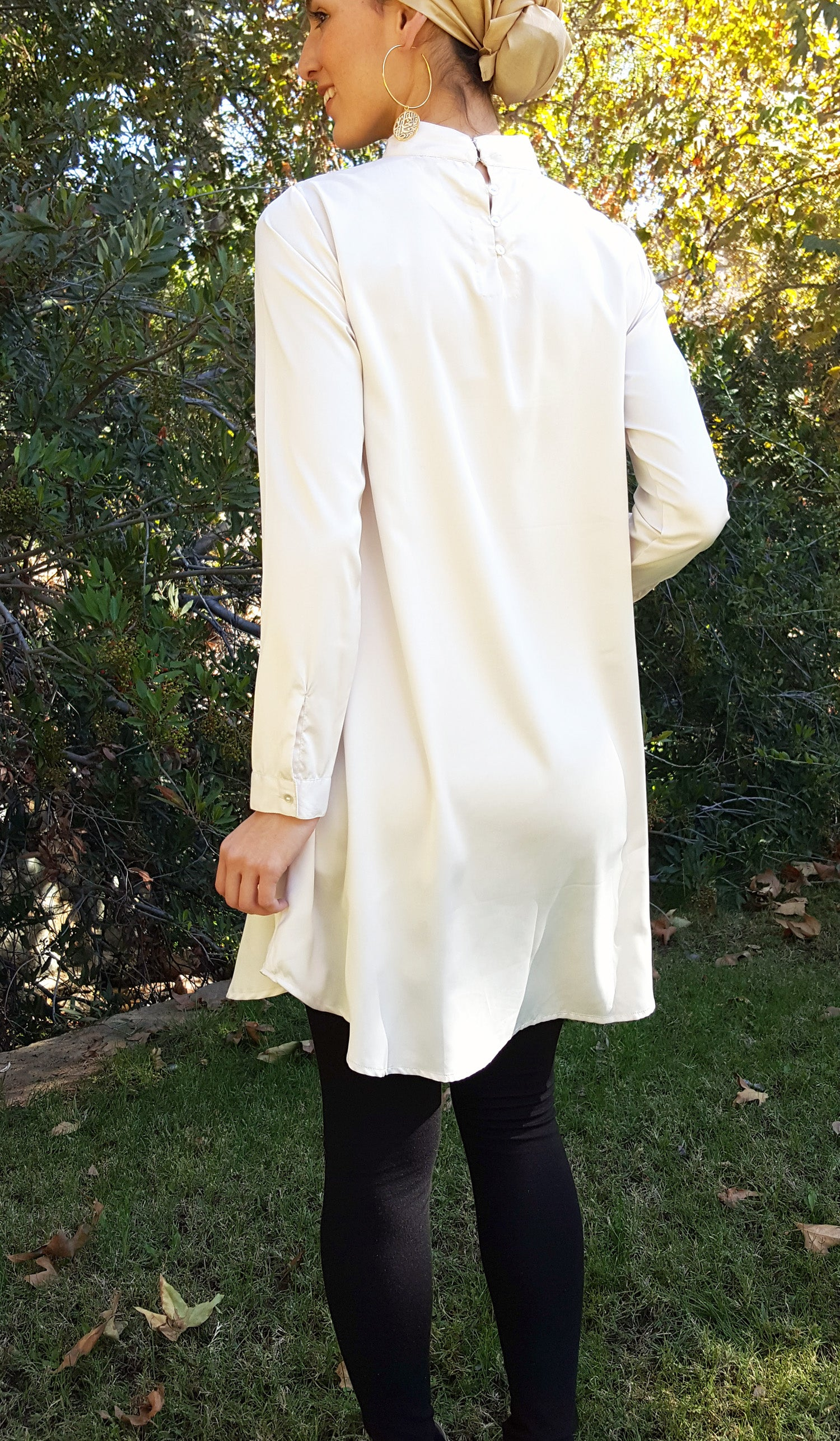 Zahab Embroidered Formal Long Modest Tunic - Ivory/ Gold