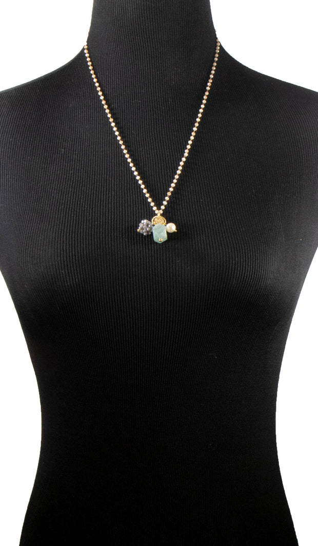 Zahra Contemporary MashAllah Arabic Necklace-Aquamarine