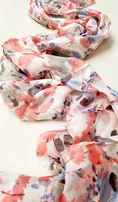 Zahra Large Floral Silk Shayla Hijab - Pink and Blue