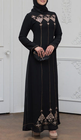 Zaira Embroidered Formal Muslim Evening Dress - Black