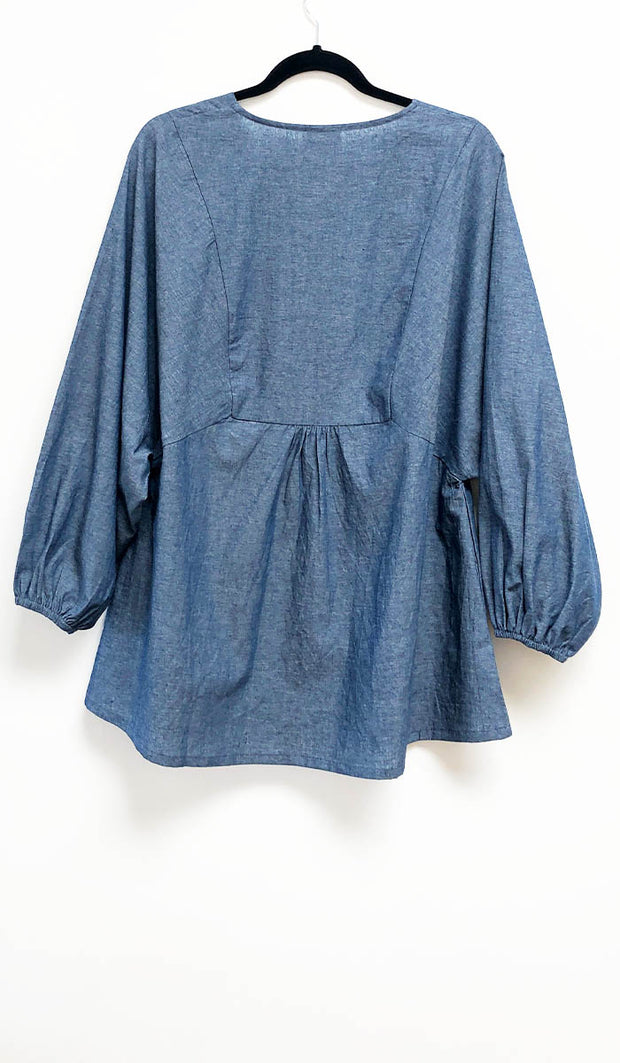 Zameen Embroidered Cotton Modest Tunic - Indigo