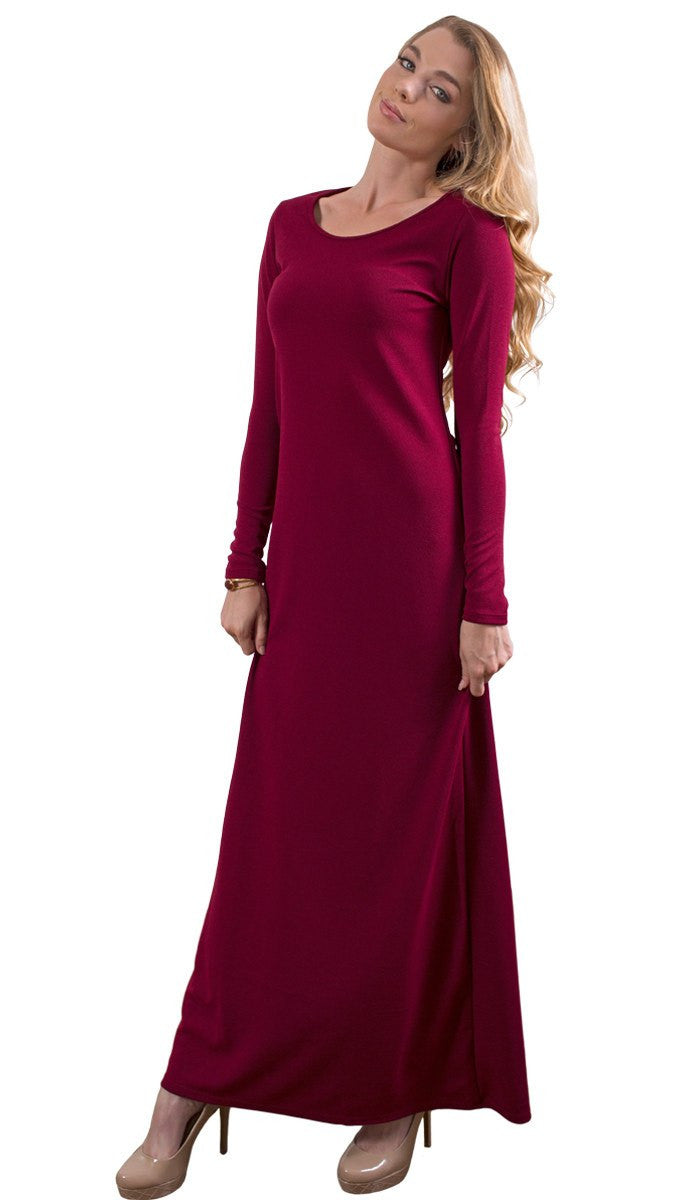 Aara Stylish Everyday Maxi Dress Abaya - Maroon - ARTIZARA.COM