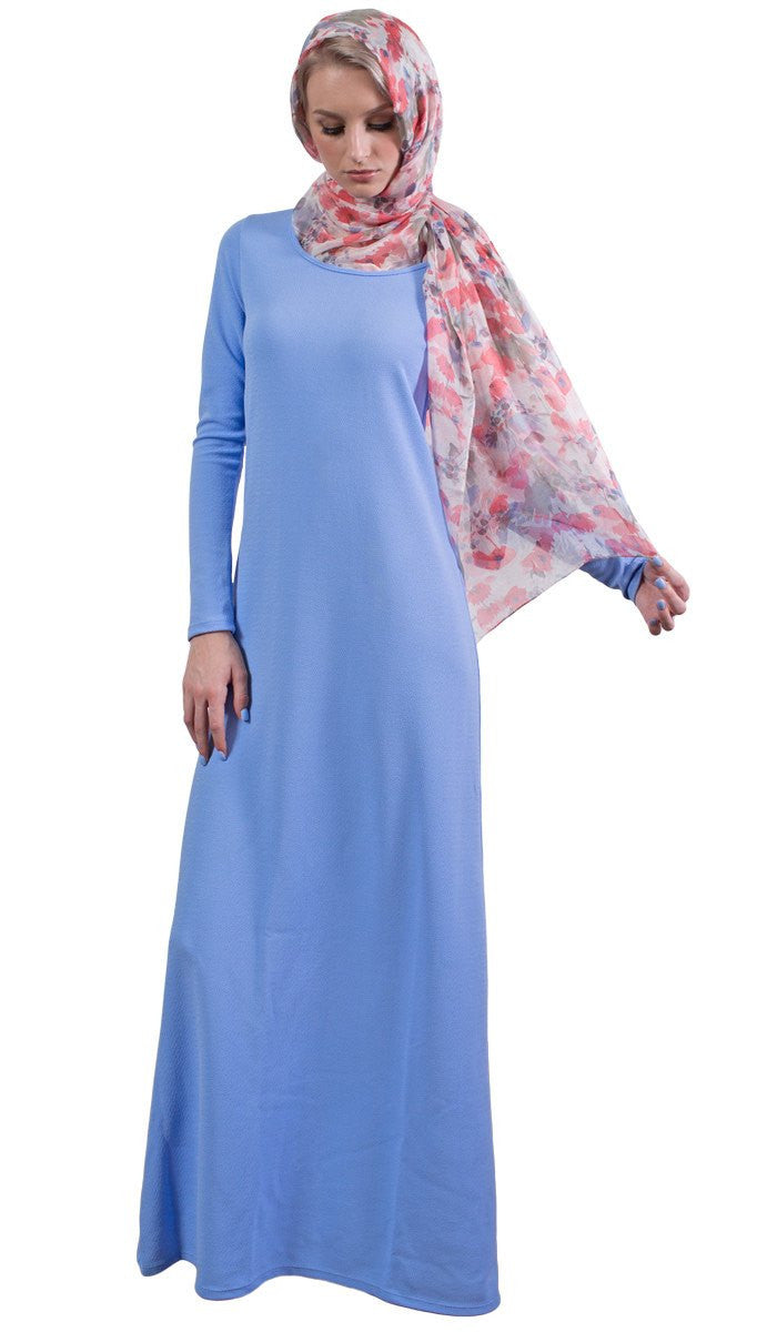 Zahra Large Floral Silk Shayla Hijab Scarf - Pink and Blue
