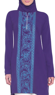 Abeer Embroidered Long Modest Tunic - Purple - ARTIZARA.COM